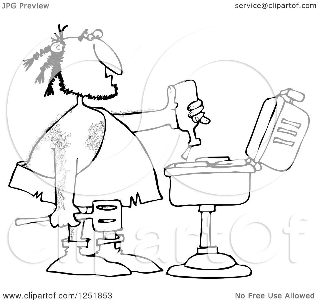 Clipart Of A Black And White Caveman Squeezing Ketchup On