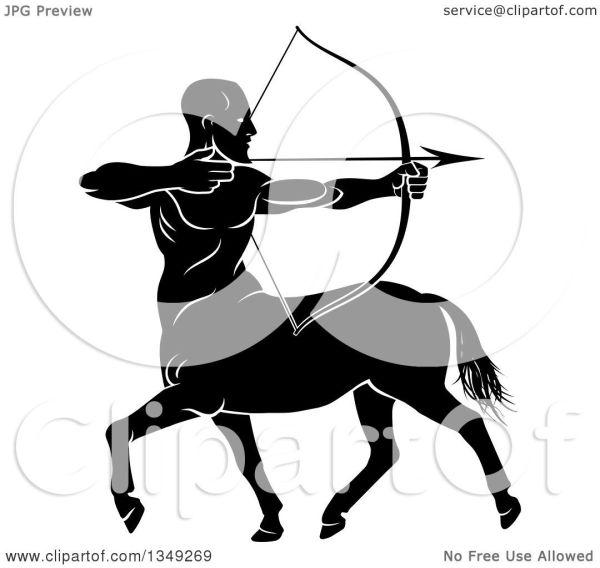 Clipart of a Black and White Centau Archer Half Man Half