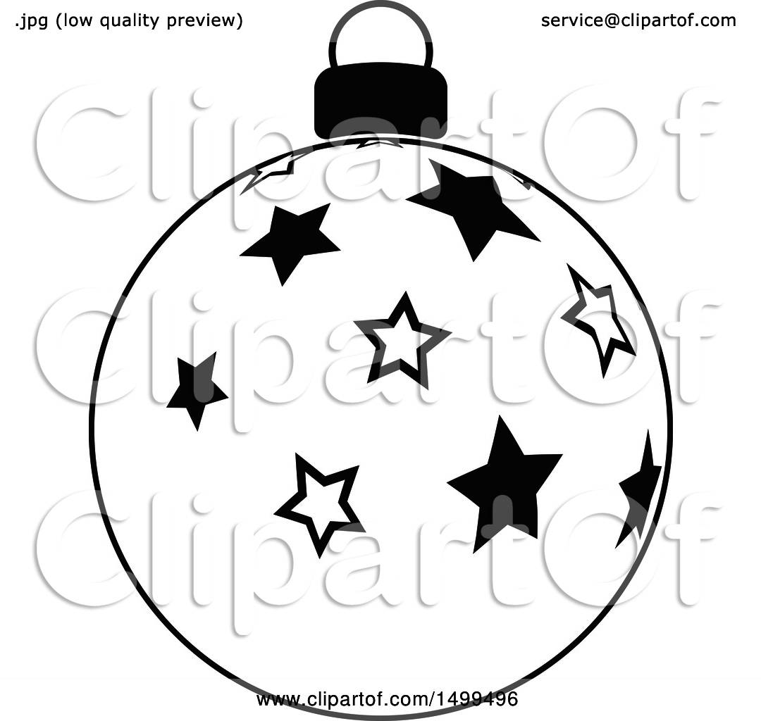 Clipart Of A Black And White Christmas Bauble Ornament