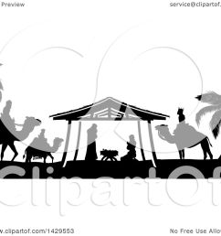 clipart of a black and white christmas nativity scene of baby jesus mary and joseph [ 1080 x 1024 Pixel ]