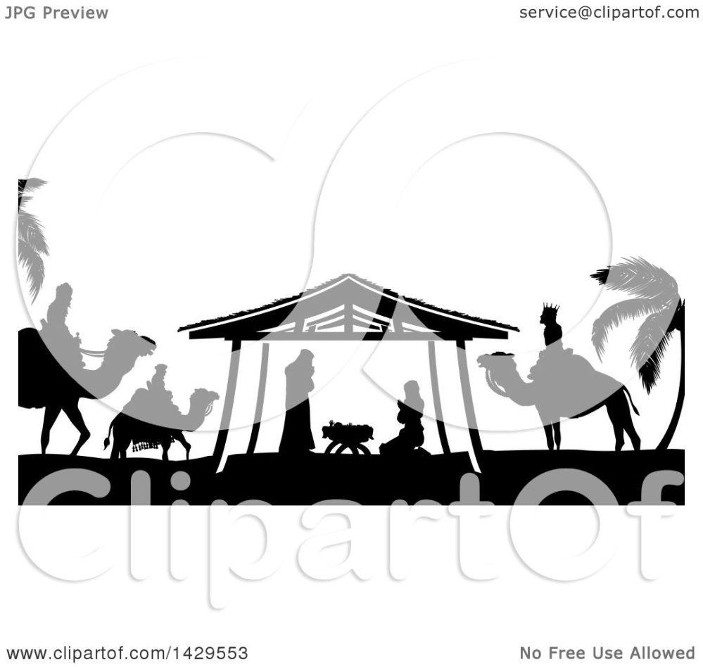 medium resolution of clipart of a black and white christmas nativity scene of baby jesus mary and joseph
