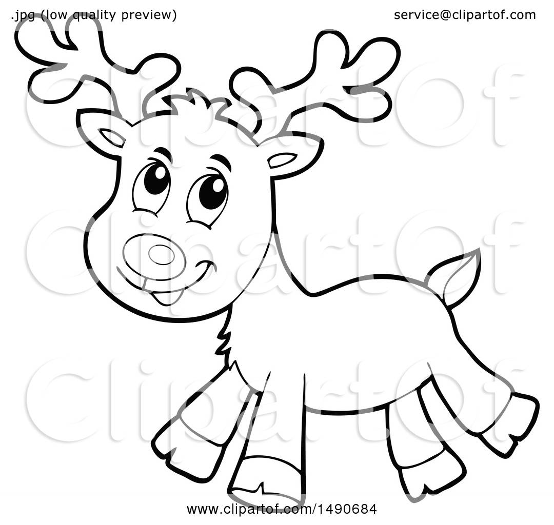 Clipart Of A Black And White Christmas Reindeer