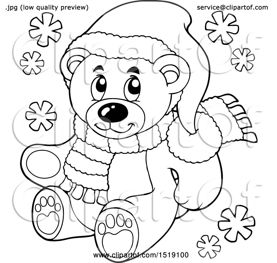 Clipart Of A Black And White Christmas Teddy Bear