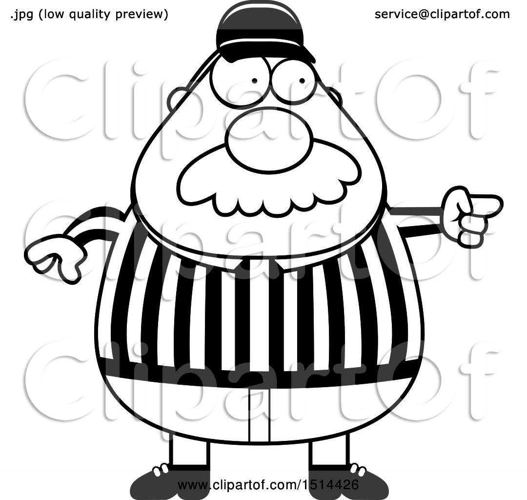 Clipart Of A Black And White Chubby Male Referee With A