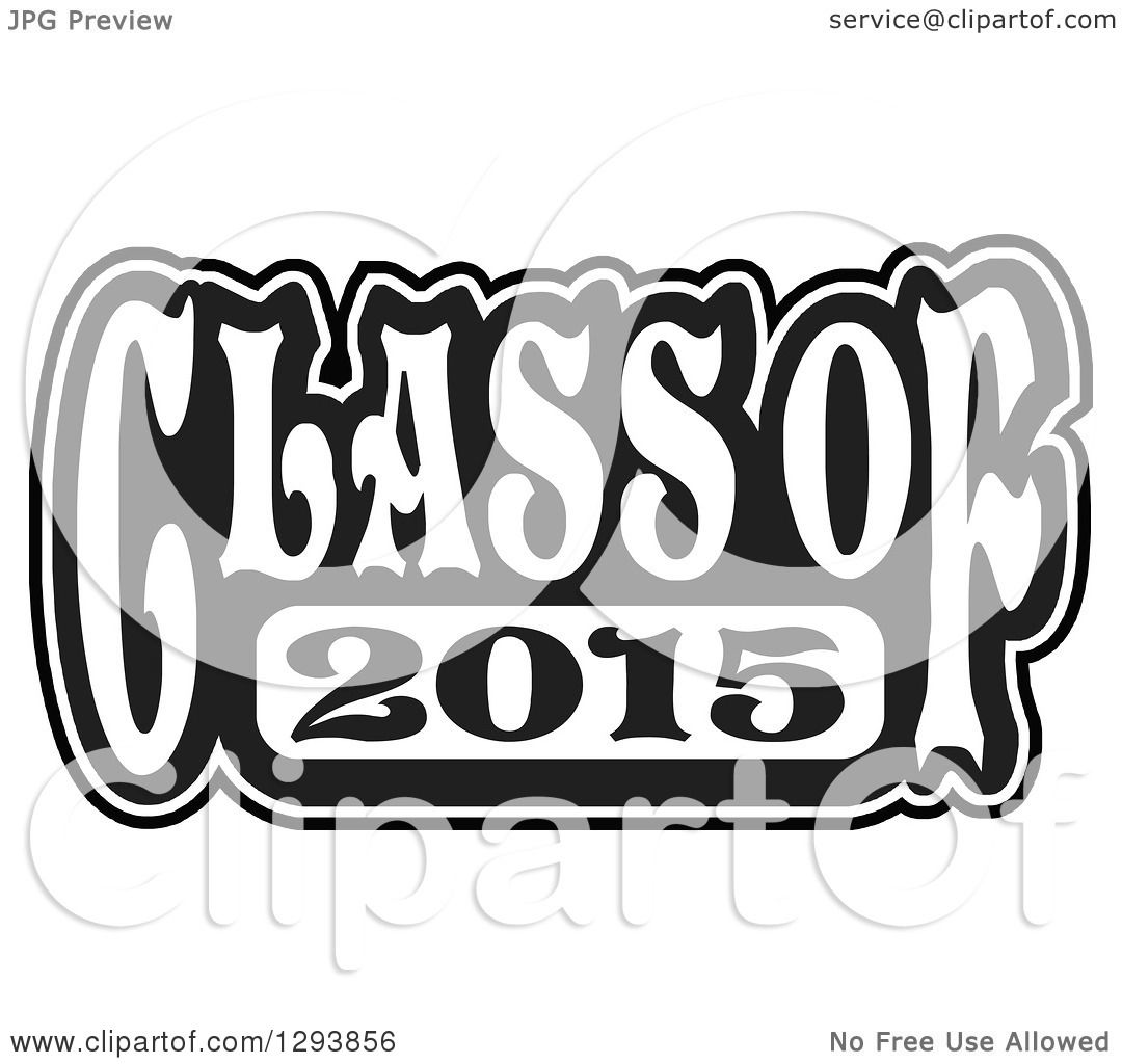 Clipart of a Black and White Class of 2015 High School