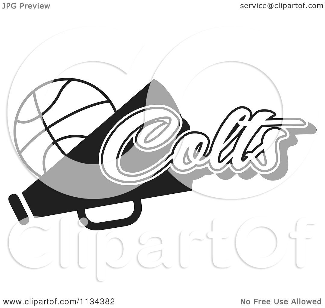 Clipart Of A Black And White Colts Basketball Cheerleader