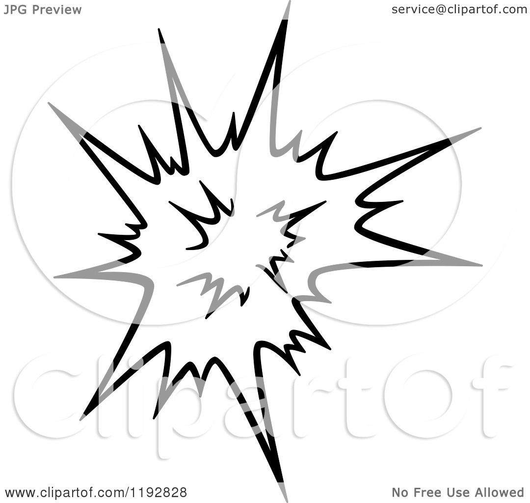 Clipart Of A Black And White Comic Burst Explosion Or Poof