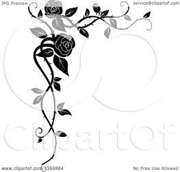 corner rose vine border floral vector clipart element tradition sm transparent clipartof resolution
