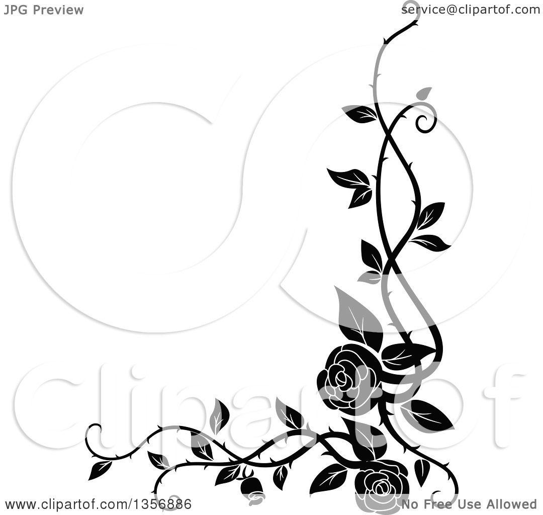 black and white roses corner