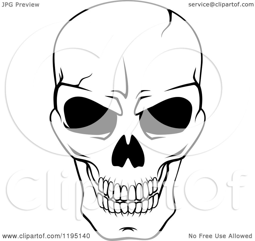 Clipart Of A Black And White Cracked Skull