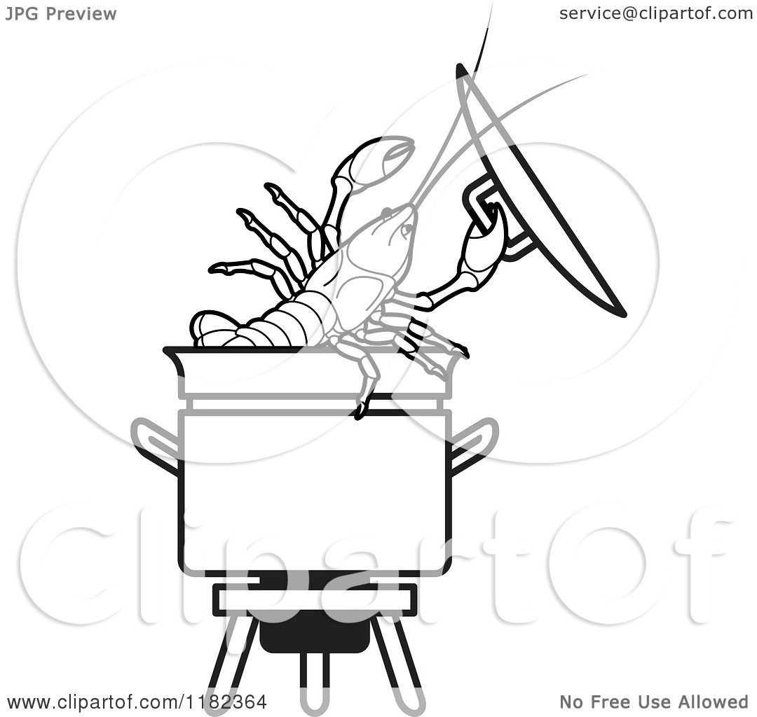 Clipart Of A Black And White Crayfish In A Pot
