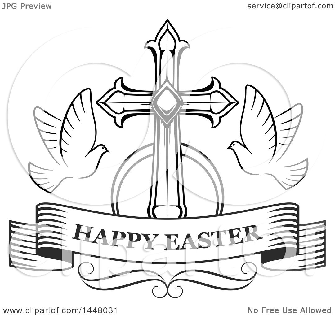 Clipart Of A Black And White Cross With Doves And A Happy