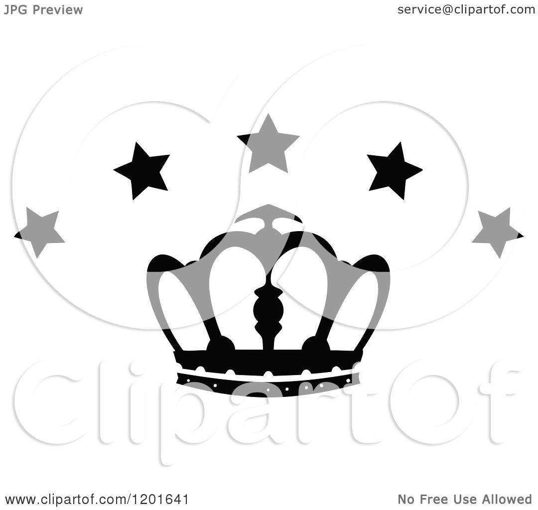 Clipart Of A Black And White Crown With Stars 3
