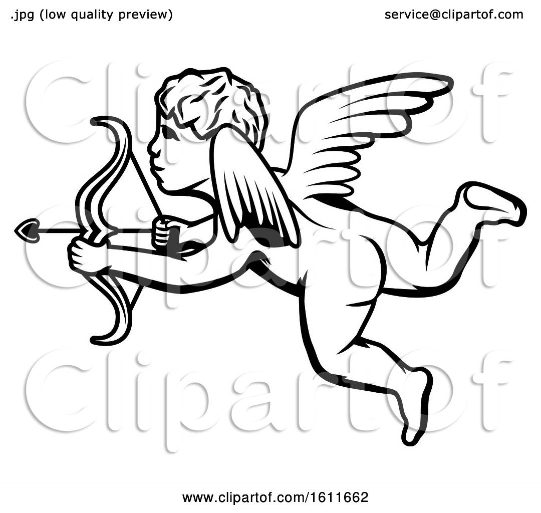Clipart Of A Black And White Cupid