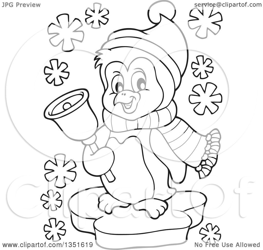 Clipart Of A Black And White Cute Christmas Penguin