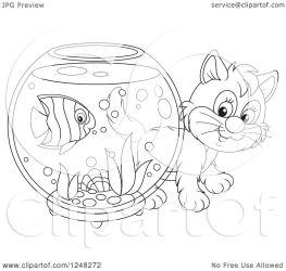 cute looking fish bowl clipart kitten around illustration vector royalty bannykh alex