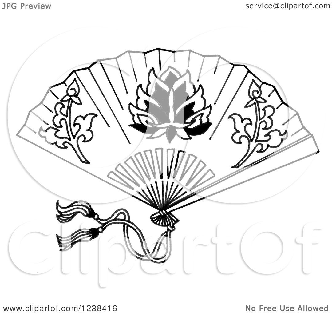 Clipart Of A Black And White Decorative Asian Fan