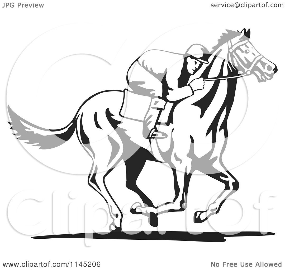 Clipart Of A Black And White Derby Jockey Racing A Horse 3