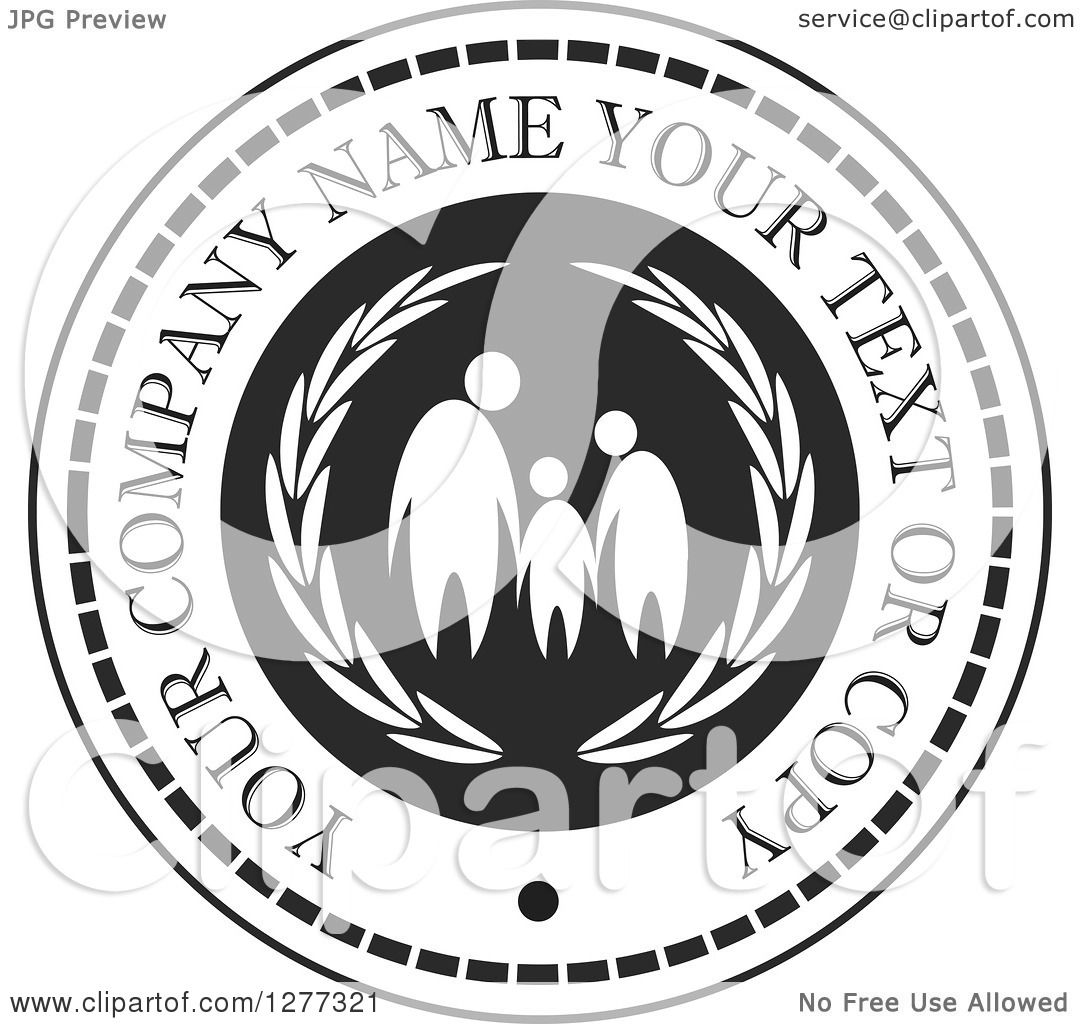 Clipart of a Black and White Design of a Family with