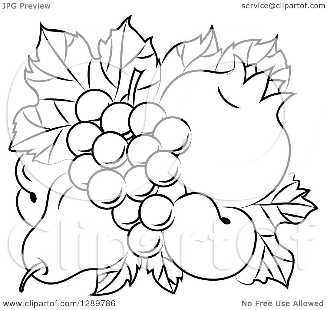 Clipart Of A Black And White Design Of A Pear Apricots
