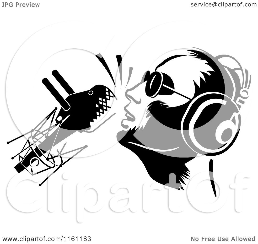 Clipart Of A Black And White Dj Or Singer With A Retro