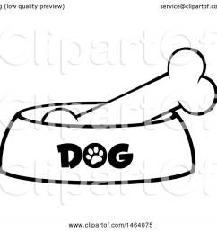 clipart of a black and white dog bone in a bowl royalty free vector illustration [ 1080 x 1024 Pixel ]