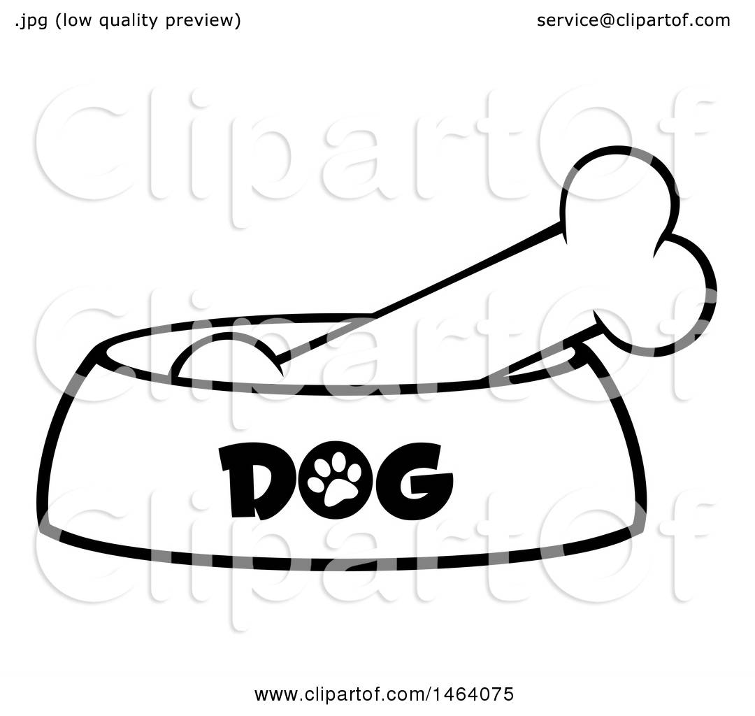 hight resolution of clipart of a black and white dog bone in a bowl royalty free vector illustration