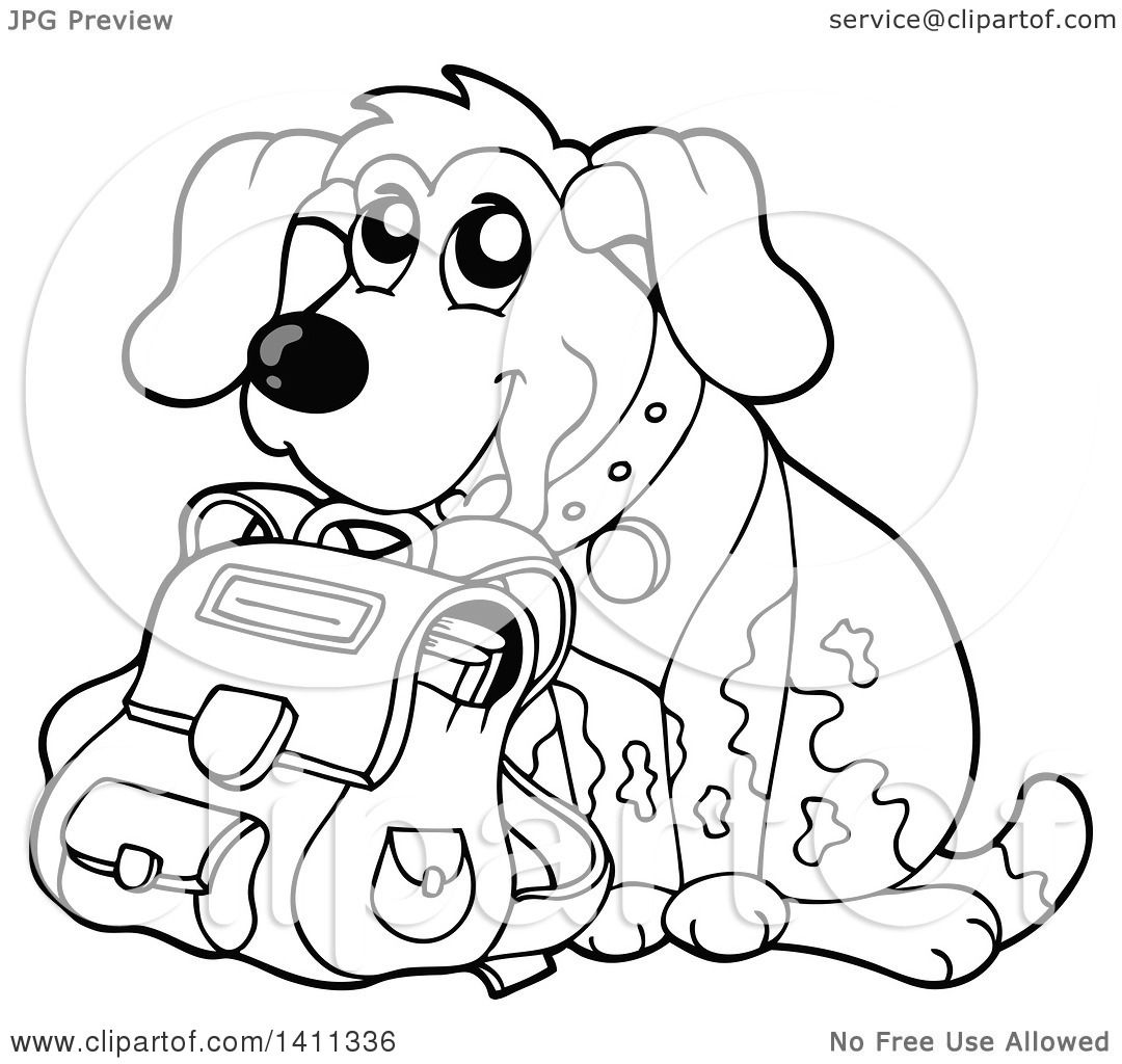 Clipart Of A Black And White Dog With A Backpack