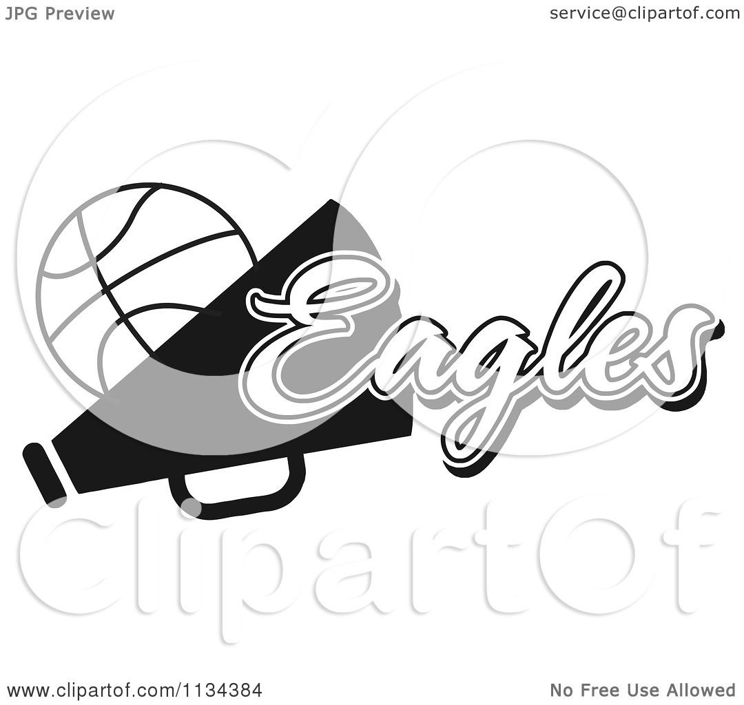 Clipart Of A Black And White Eagles Basketball Cheerleader Design