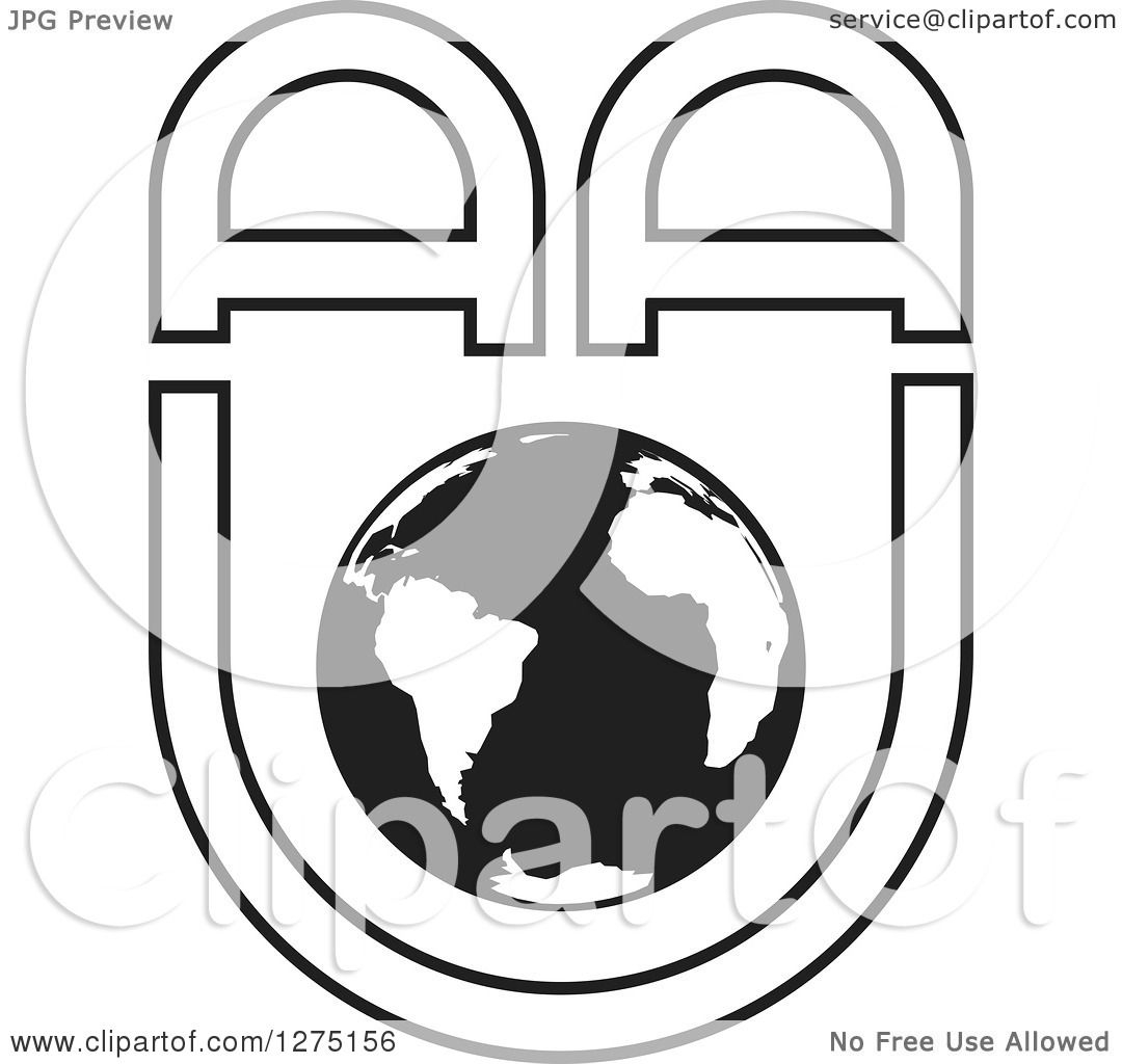Clipart Of A Black And White Earth With Aau Letters