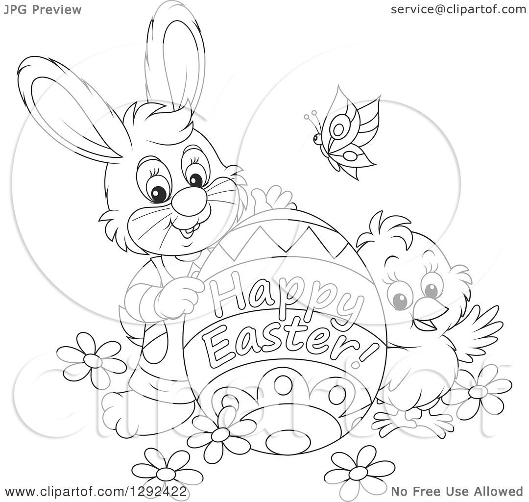 Clipart Of A Black And White Easter Bunny Chick And