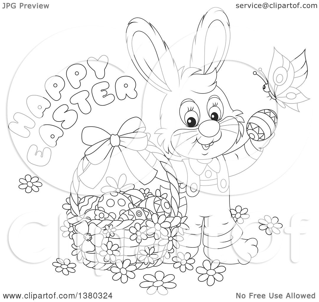 Clipart Of A Black And White Easter Bunny Rabbit In