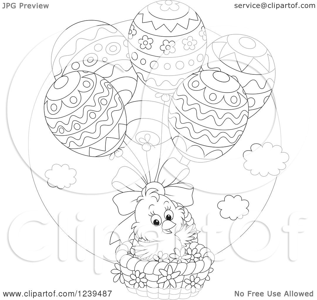Clipart Of A Black And White Easter Chick Floating In An