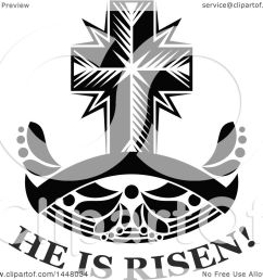 clipart of a black and white easter cross over he is risen text and a blank [ 1080 x 1024 Pixel ]