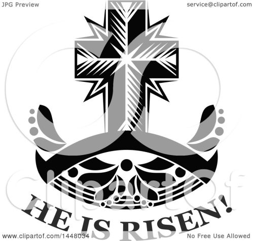 small resolution of clipart of a black and white easter cross over he is risen text and a blank