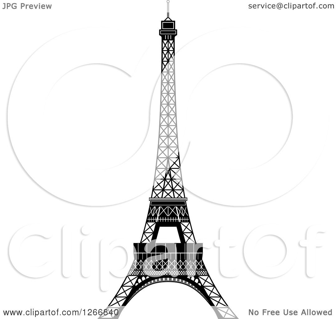 Clipart Of A Black And White Eiffel Tower