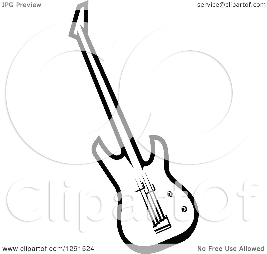 Clipart Of A Black And White Electric Guitar