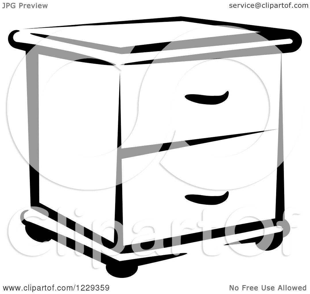 Clipart Of A Black And White End Table