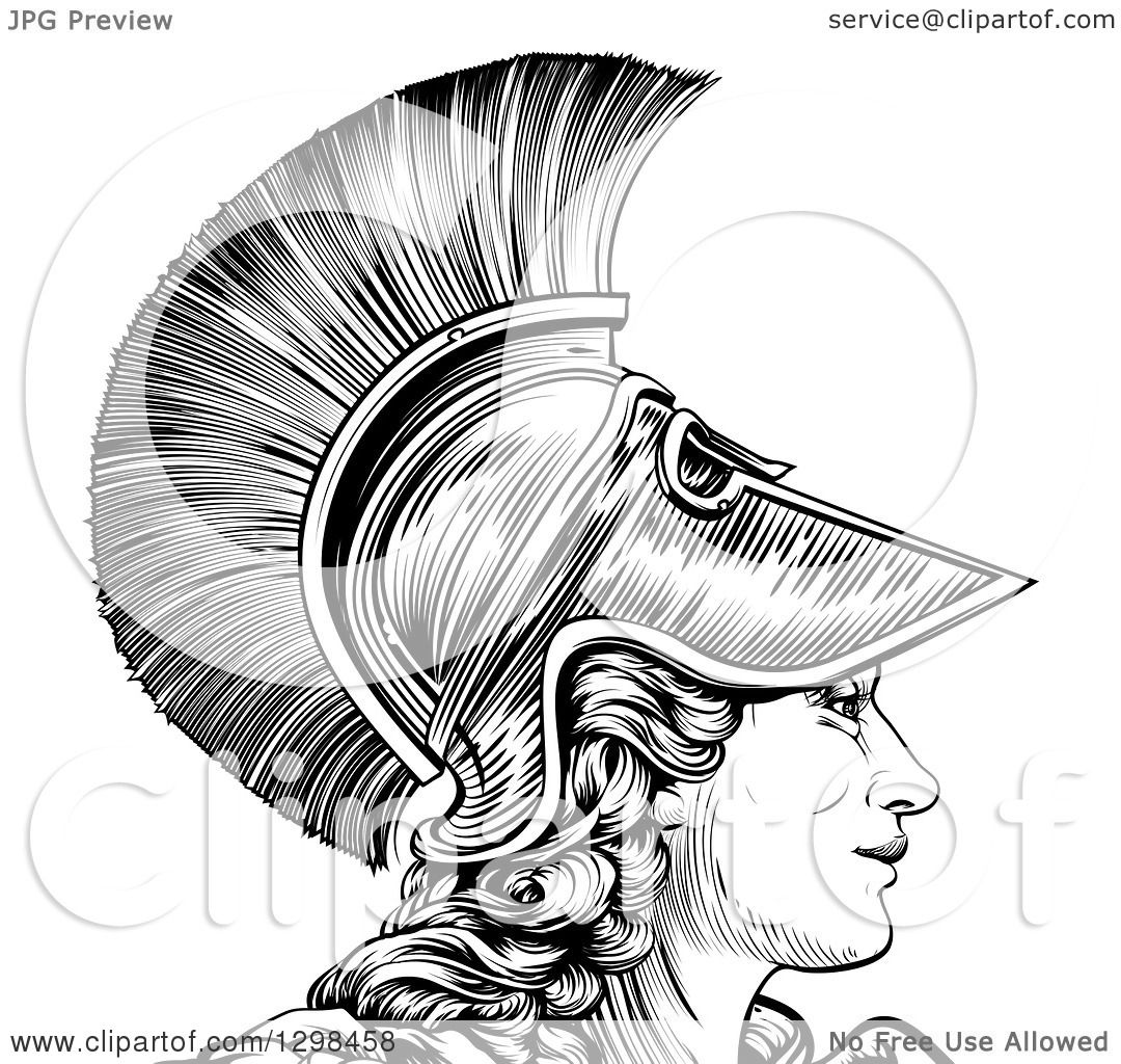 Clipart Of A Black And White Engraved Greek Warrior Woman