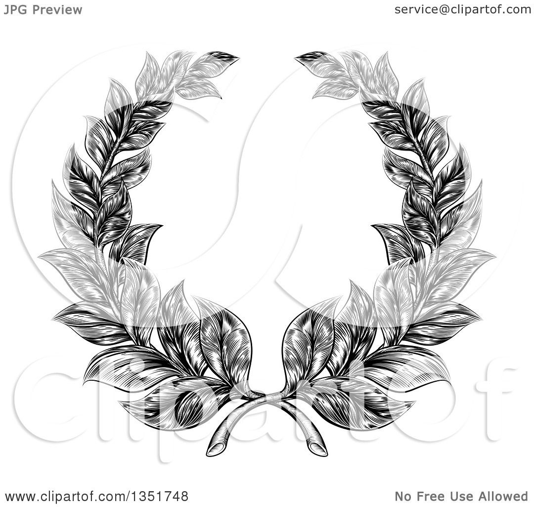 Clipart Of A Black And White Engraved Laurel Wreath