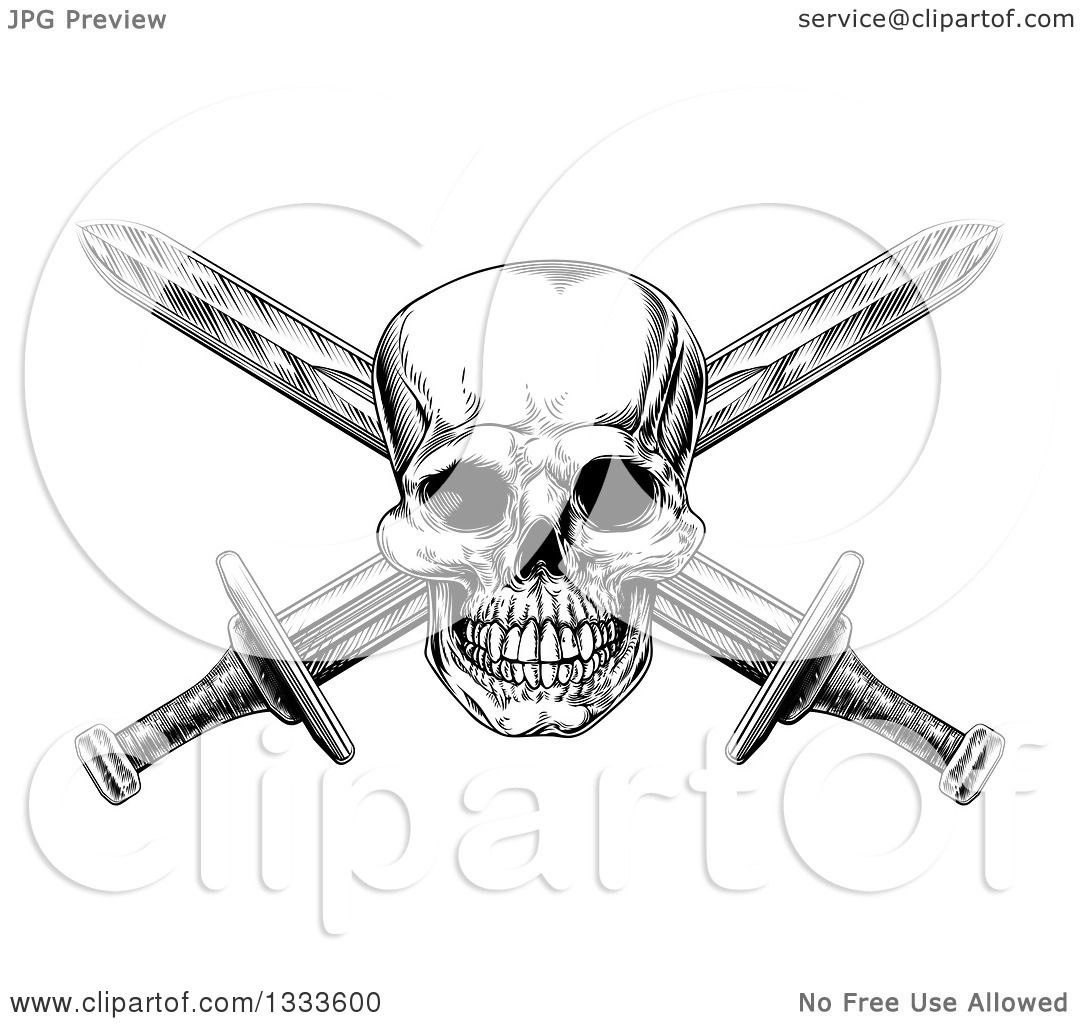Clipart Of A Black And White Engraved Pirate Skull And