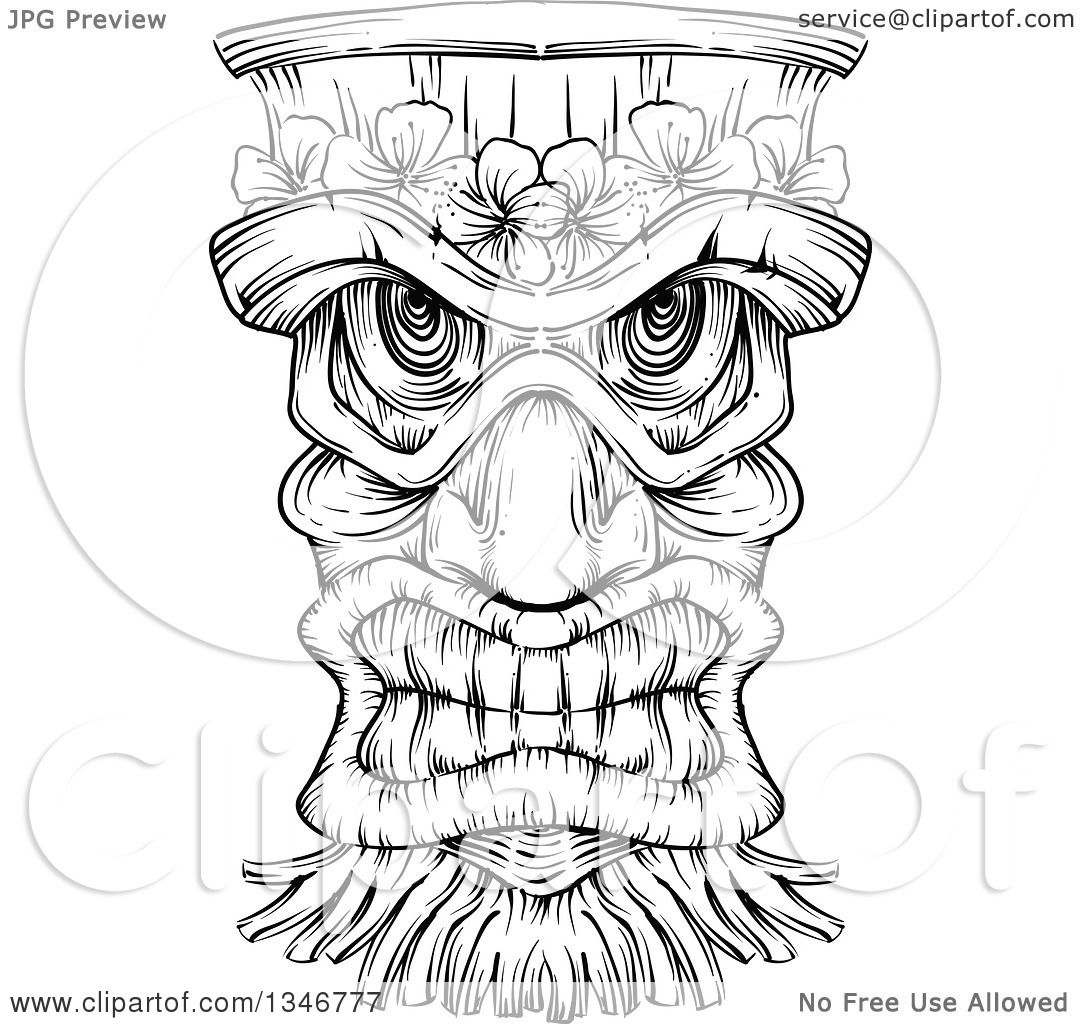 Clipart Of A Black And White Engraved Tiki Mask