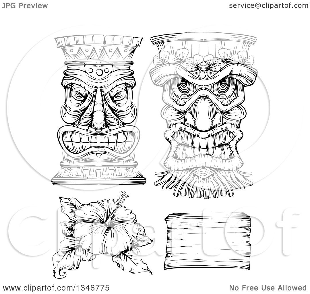 Clipart Of A Black And White Engraved Tiki Statue Mask