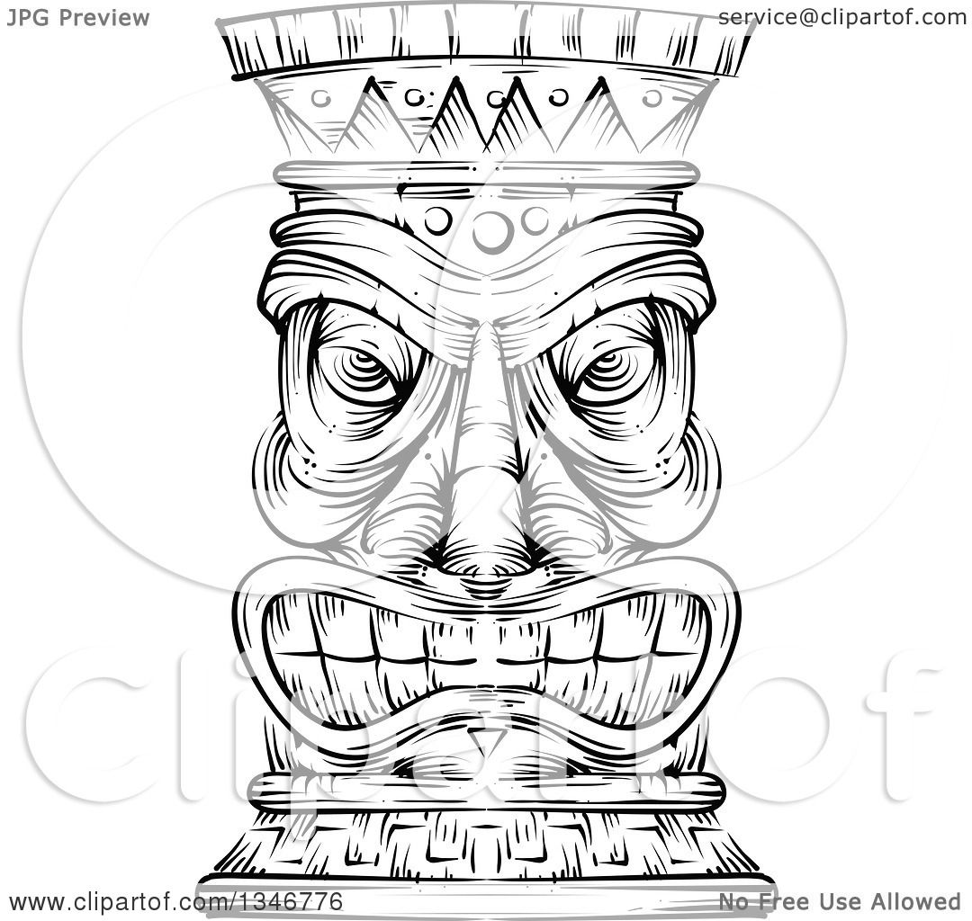 Clipart Of A Black And White Engraved Tiki Statue
