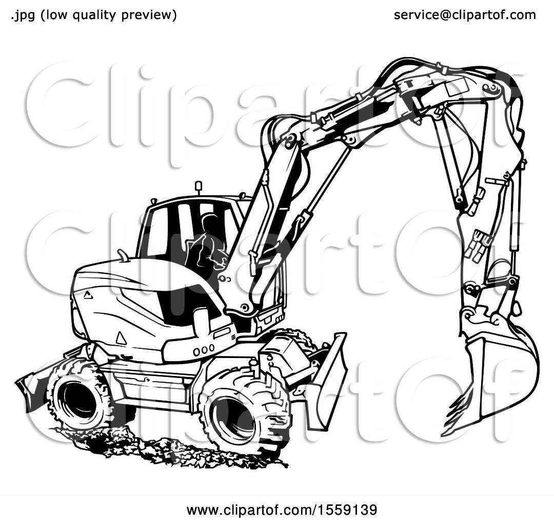 Clipart Of A Black And White Excavator Machine