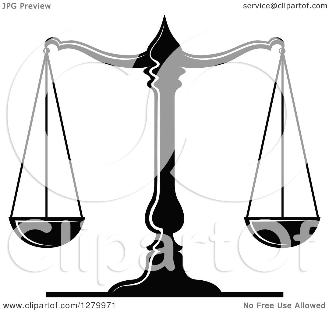 Clipart Of A Black And White Fair And Balanced Scales Of