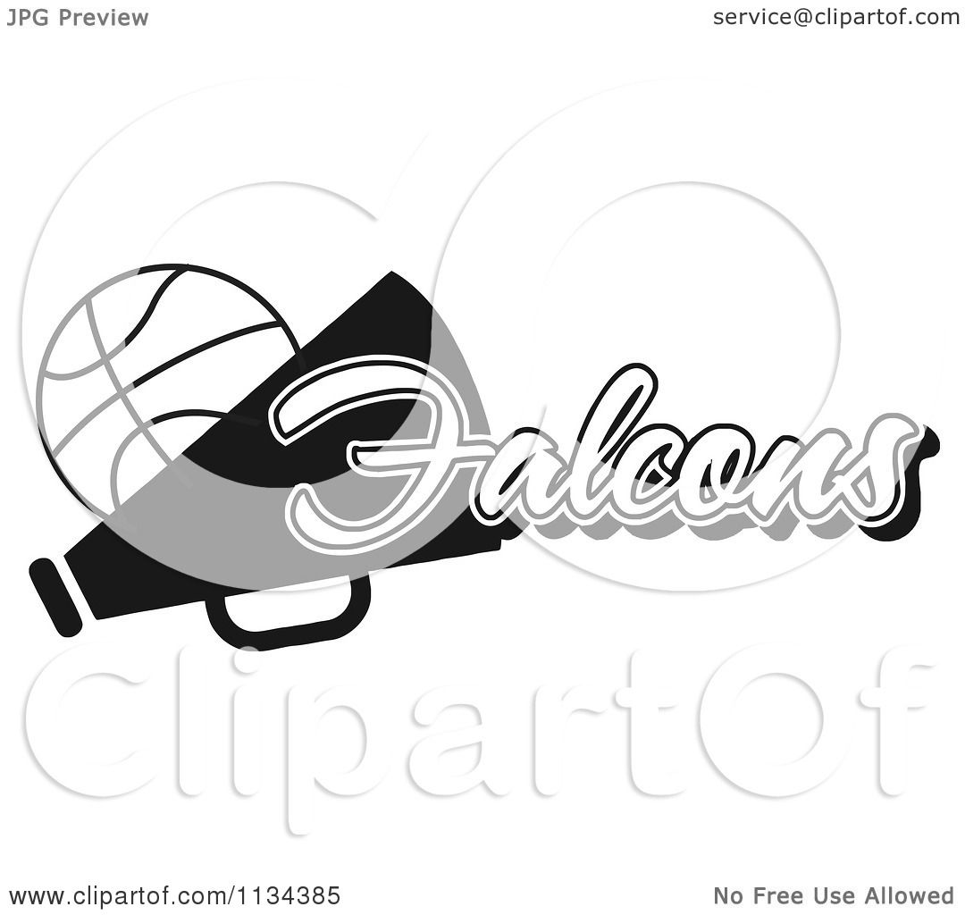 Clipart Of A Black And White Falcons Basketball