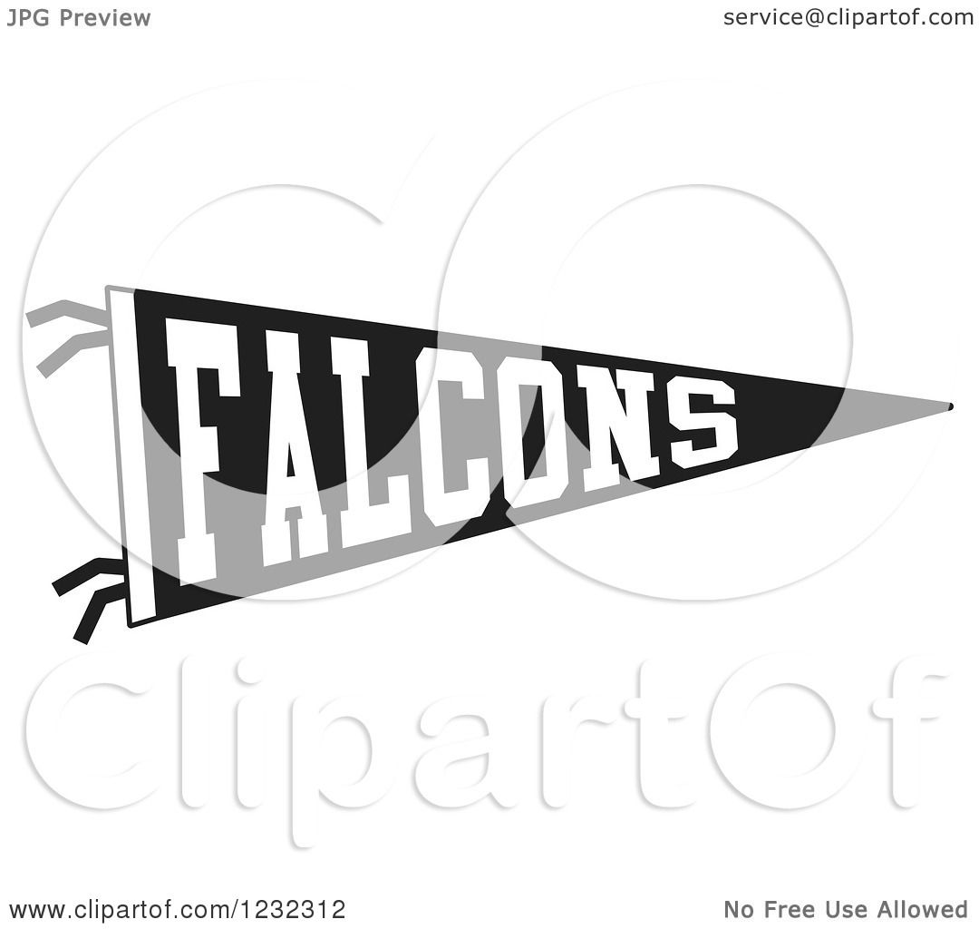 Clipart Of A Black And White Falcons Team Pennant Flag