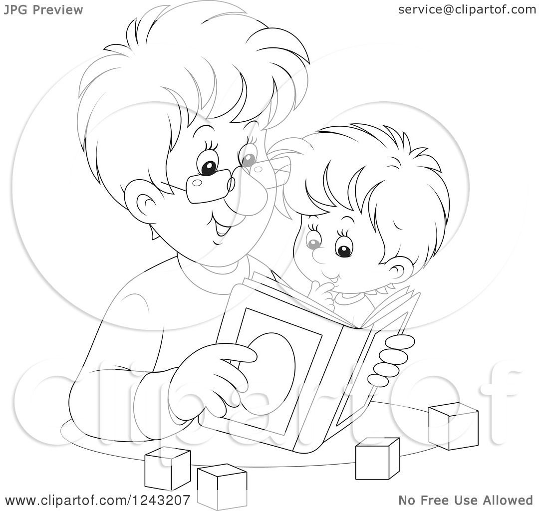 Clipart Of A Black And White Father Reading A Story Book
