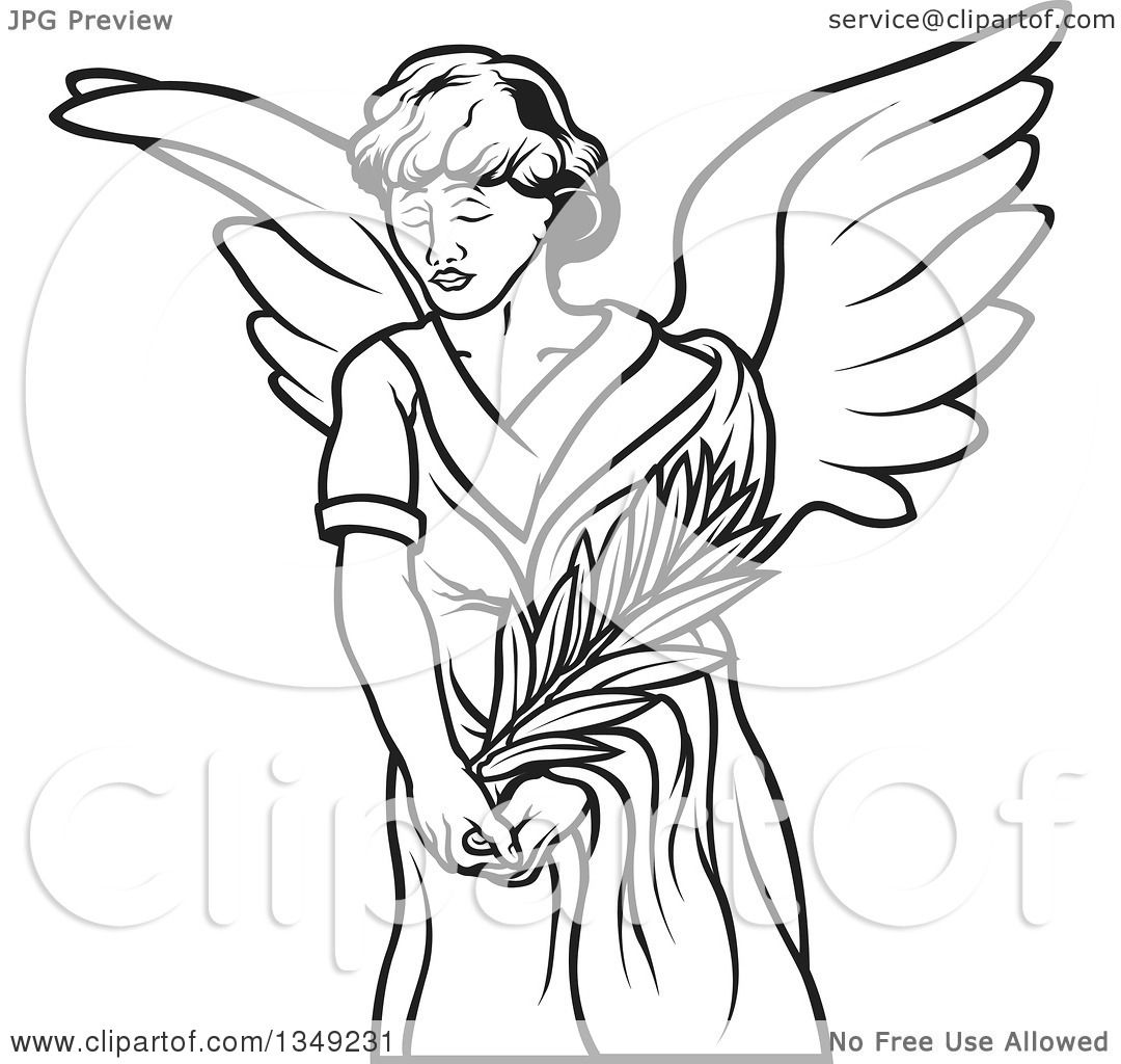 Clipart Of A Black And White Female Angel Holding A Branch